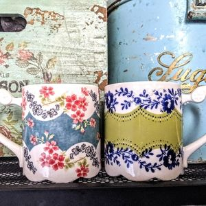 Anthropologie Floral Scalloped Bottom Mugs